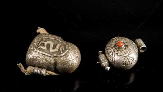 Tibetan Silver Ghau Prayer Box and Ghau Prayer Amulet