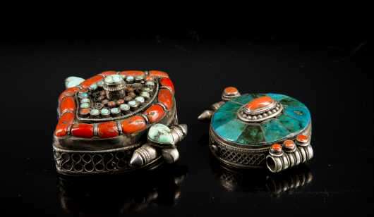 Two Tibetan Silver, Turquoise and Coral Ghau Prayer Amulets
