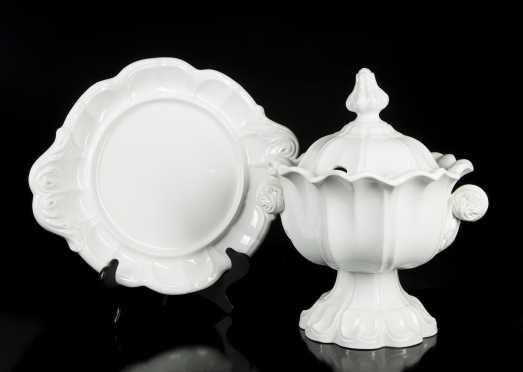 "Fancy ""Boothe"" White Ironstone Soup Tureen/Platter"