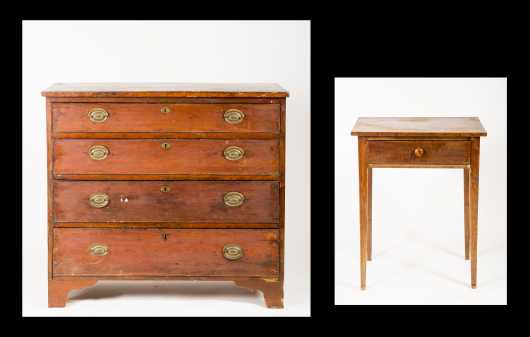 Hepplewhite One Drawer Stand and Chest of Drawers, As-Is