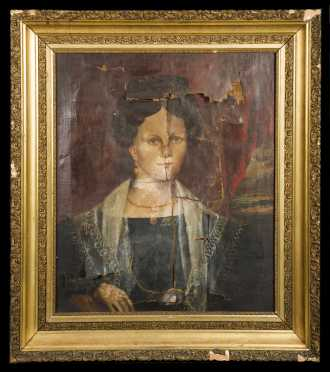 19thC New England Painting of a Woman, As-is