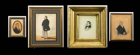 Four 19thC American Watercolor Portraits of Men on Paper