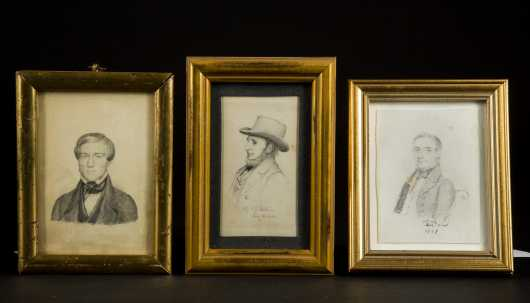 Three 19thC American Pencil Drawings
