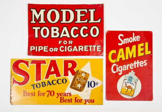 Lot of Three Tobacco Country Store Tin Signs