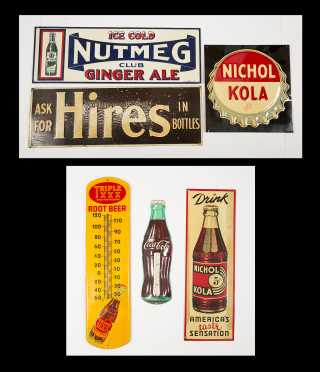 Lot of Six Soda Country Store Tin Advertising Signs