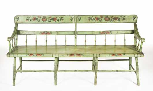 19thC Paint Decorated Pennsylvania Settee