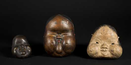 Three Japanese Old Okme Masks