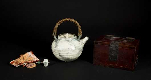 Japanese Meiji Box and Pottery Teapot