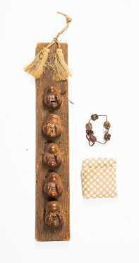 Two Sets of Five Okame Miniature Masks