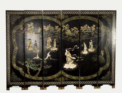 Chinese Hardstone Inlaid Six Panel Screen