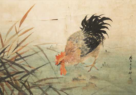 Chinese Rooster Painting, Watercolor