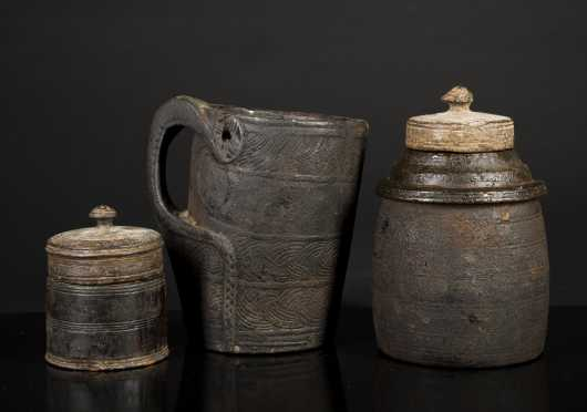 Three Tibetan Wooden Vessels
