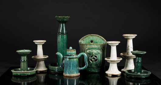 Lot of Eight Tibetan Pottery Lamps and Others
