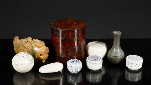 Lot of Chinese Porcelain, Jadeite Fish and Lacquer Tiered Box