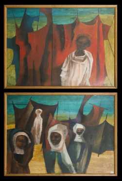 William Drew (Australia, 1928-1983), Pair of Paintings, North Africa, 1965.