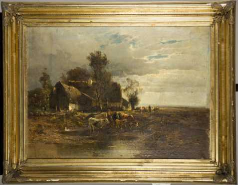 19thC German Homestead Painting Signed Illegibly