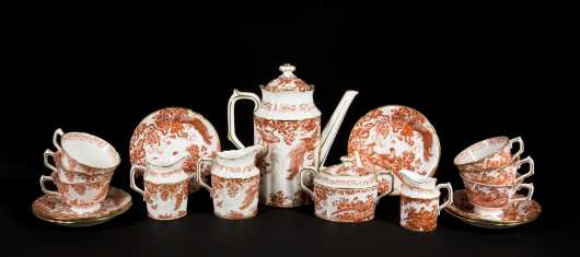 Red Royal Crown Derby Tea Set of Six