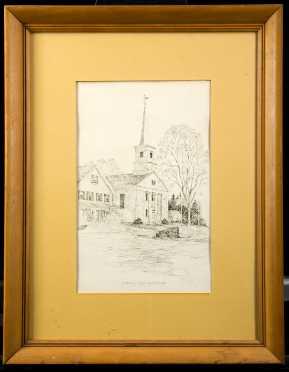 Vintage Pen + Ink Drawing, Dublin N.H. Signed Clark M. Goff 1972