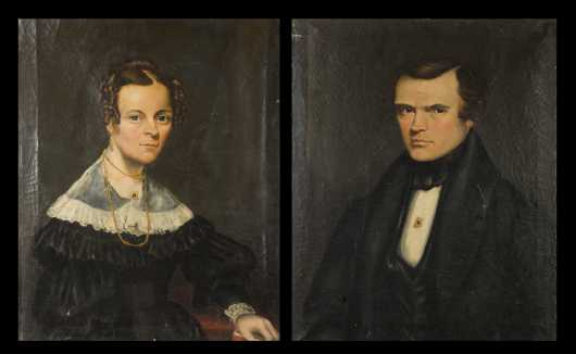 "Pair of Portraits signed ""A.L. Powers 1838"" on Reverse, Ashel Lynde Powers, Vermont (1813-1854)"