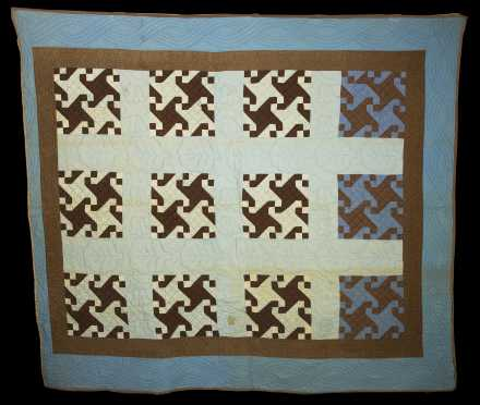 """Pinwheel"" Brown and Blue Quilt"