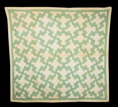 """Turkey Trot"" Green and White Quilt"