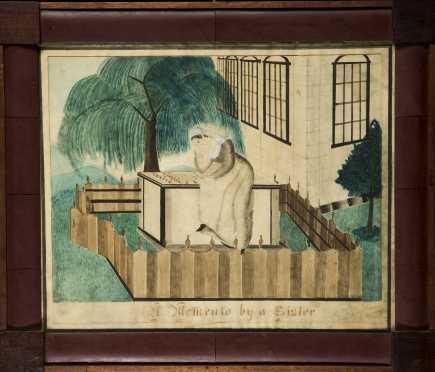 American 1835 Watercolor Primitive Memorial