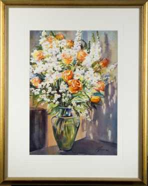 Carolyn Grossé Gawarecki, Watercolor Still Life of Bouquet of Flowers