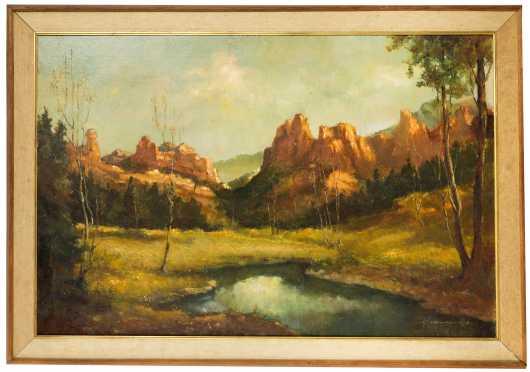 Large Western/Southwestern Landscape, Oil on Canvas, Signed