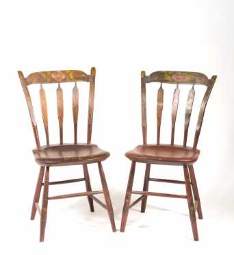 Pair of Paint Decorated Thumback Side Chairs