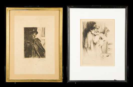 Two Etchings by Anders Zorn and Arthur William Heintzelman