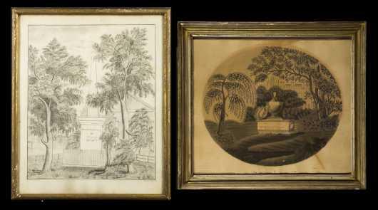 Two 19thC Primitive American Memorials
