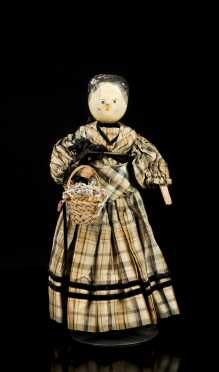 Primitive Carved and Painted Wooden Doll