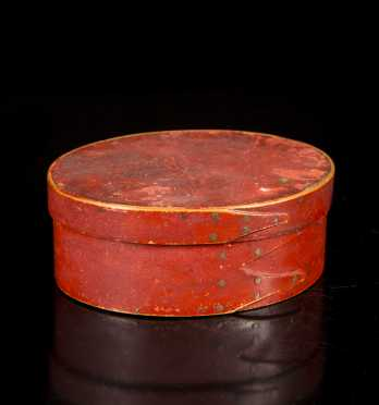 Oval Red Painted Three Finger Shaker Box