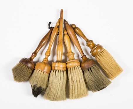 Six Turned Wooden Handled Brushes