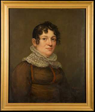 Primitive 19thC Painting of a Woman in a Lace Cuff, Ethan Allen, Greenwood, Mass. (1779-1856)