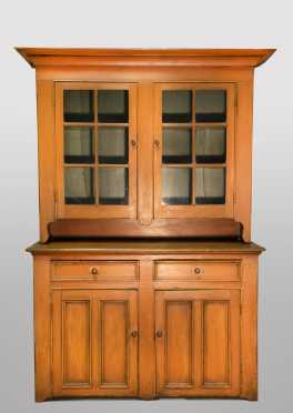 Pennsylvania 19thC Glazed Two Part Cupboard