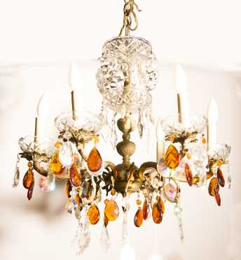 Crystal and Brass Six Arm Chandelier