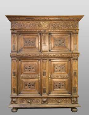 17thC German Two Part Oak Court Cupboard