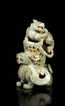 Chinese Two Piece Jadeite Carved Lion Censer
