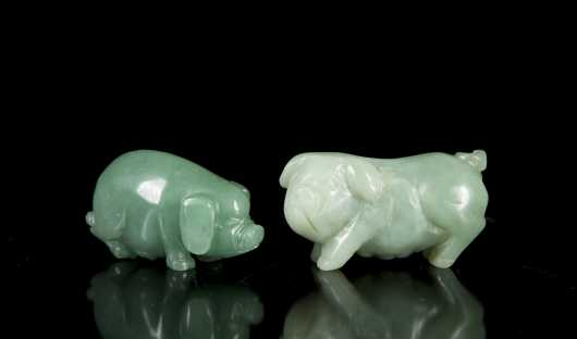 Two Chinese Carved Jade Miniature Pigs