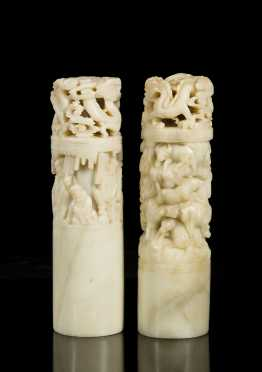 Pair of Chinese Carved Soapstone Weights