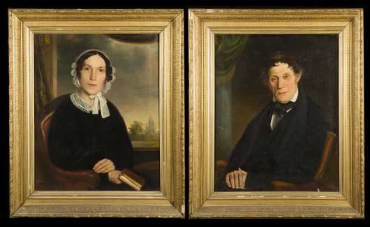 Pair of Primitive Portraits of a Gentleman and his Wife