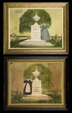 Two 19thC Hand Colored Lithograph Memorials
