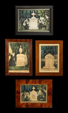 Four Hand Colored Lithograph Memorials