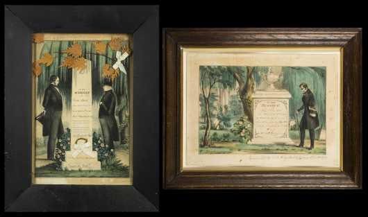 Three 19thC Colored Print Memorials