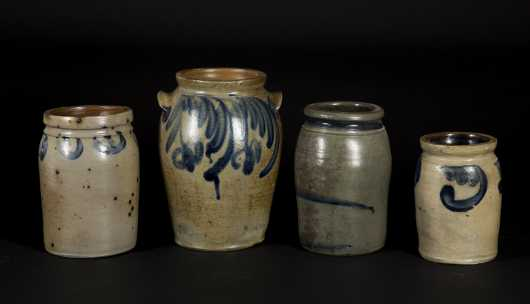 Four Stoneware Crocks with Blue Decoration