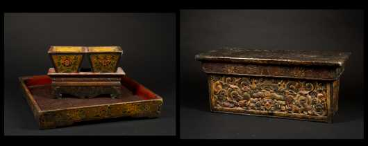 Three Tibetan Carved and Painted Accessory Pieces