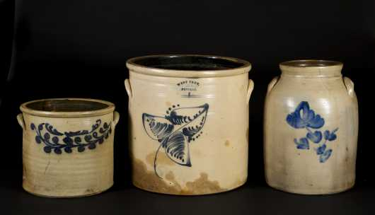 Three Stoneware Crocks with Blue Decoration