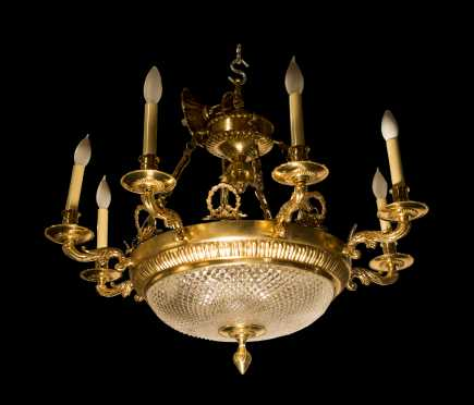 Cut Crystal and Brass Chandelier with Eight Lights