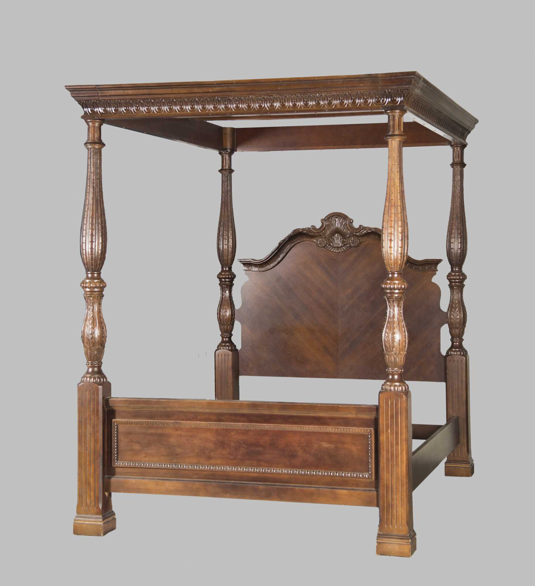 Custom Carved Mahogany Canopy Top Queen Size Bed